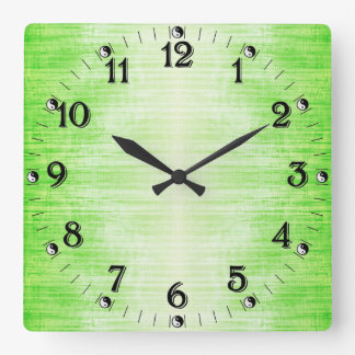 Light Green Gradient Texture Pattern With Yin Yang Square Wall Clock
