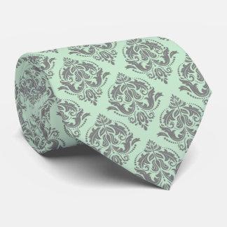 Light Green & Gray Vintage Floral Damasks Tie