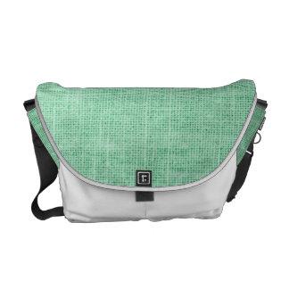 Light Green Grunge Burlap Texture Courier Bags