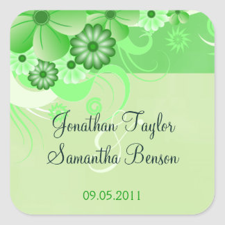 Light Green Hibiscus Floral Save The Date Favor Square Sticker