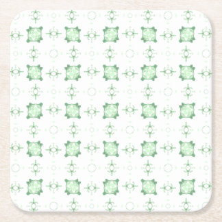 Light Green Kaleidoscope Pattern Square Paper Coaster