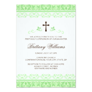Light green lace first holy communion confirmation personalized invitations