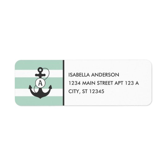 Light Green Nautical Anchor Monogram Return Address Label