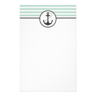 Light Green Nautical Anchor Stationery