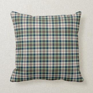 Light Green, Navy Blue and Cream Plaid Pattern Cushion