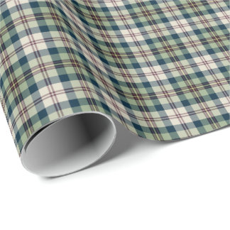 Light Green, Navy Blue, and Cream Plaid Wrapping Paper