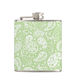 Light Green Paisley Floral Pattern Hip Flask