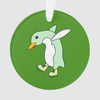 Light Green Penguin with Blue & Yellow Ice Skates