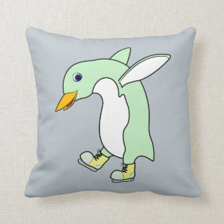 Light Green Penguin with Blue & Yellow Ice Skates Cushions
