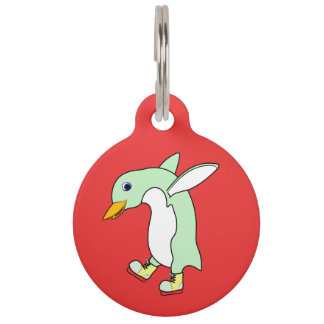 Light Green Penguin with Blue & Yellow Ice Skates Pet ID Tags