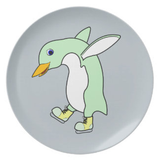 Light Green Penguin with Blue & Yellow Ice Skates Plate