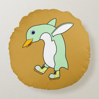 Light Green Penguin with Blue & Yellow Ice Skates Round Cushion