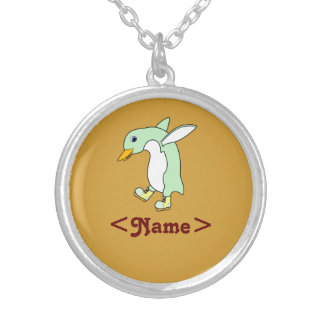 Light Green Penguin with Blue & Yellow Ice Skates Round Pendant Necklace