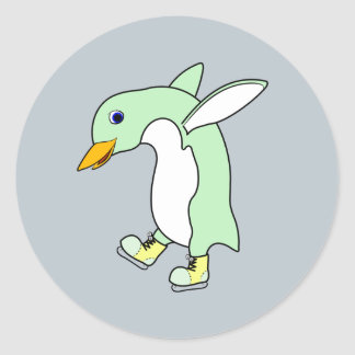 Light Green Penguin with Blue & Yellow Ice Skates Round Sticker