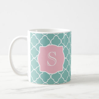 Light Green Quatrefoil Pink Monogram Coffee Mug