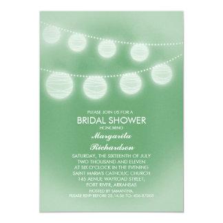 light green romantic lanterns bridal shower 13 cm x 18 cm invitation card