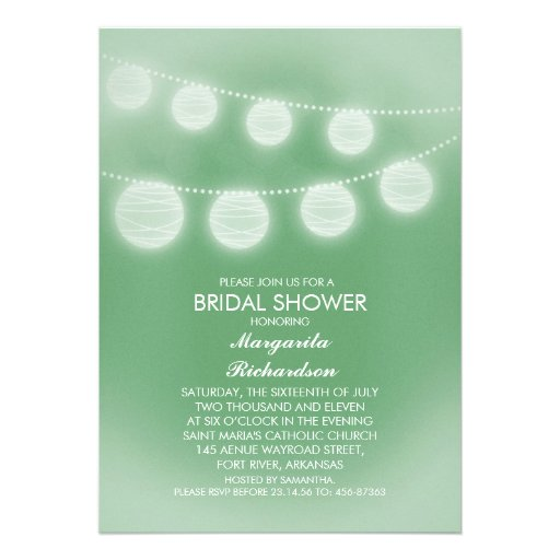 light green romantic lanterns bridal shower cards