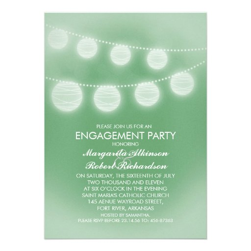 light green romantic lanterns engagement party custom invitations
