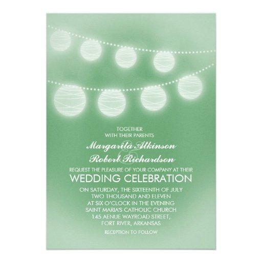 light green romantic lanterns wedding invitation