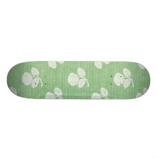 Light Green Rustic Burlap Texture Skate Deck