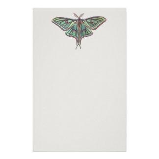 Light Green Spanish Moon Moth Realistic Painting Stationery