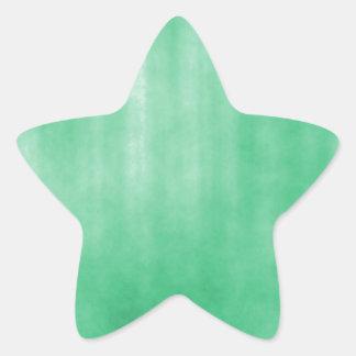 Light Green Striped Grunge Design Star Sticker