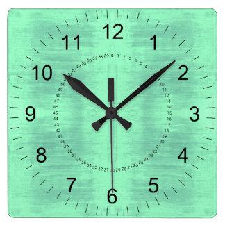 Light Green Textured Pattern Square Wall Clock