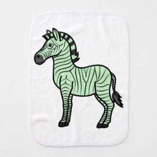 Light Green Zebra with Black Stripes Baby Burp Cloth