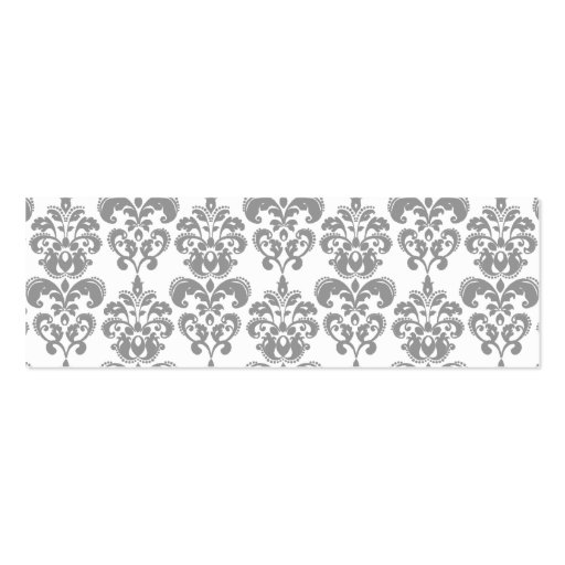 LIGHT GREY AND WHITE DAMASK PATTERN 2 BUSINESS CARDS