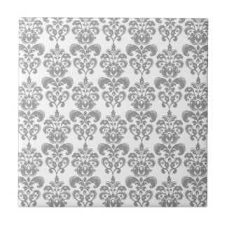 LIGHT GREY AND WHITE DAMASK PATTERN 2 CERAMIC TILE