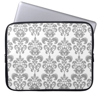 LIGHT GREY AND WHITE DAMASK PATTERN 2 COMPUTER SLEEVE
