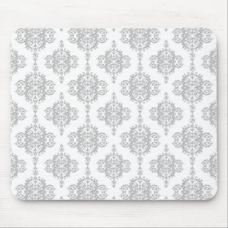 Light Grey and White Vintage Damask Mouse Pad