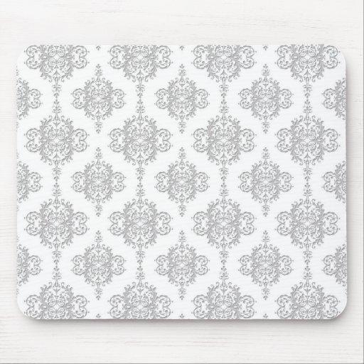 Light Grey and White Vintage Damask Mousepad