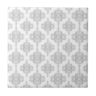 Light Grey and White Vintage Damask Small Square Tile
