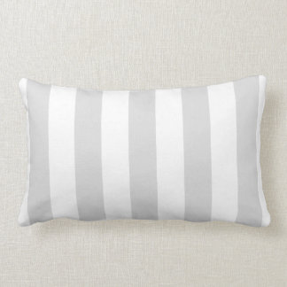Light Grey and White XL Stripe Pattern Lumbar Pillow