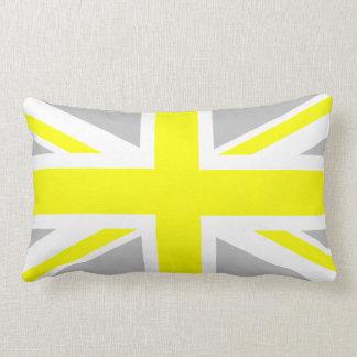 Light Grey and Yellow Union Jack Lumbar Pillow