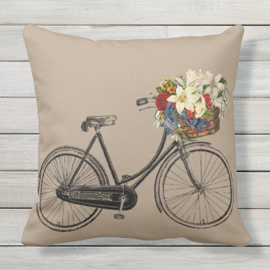 Light grey bicycle flower taupe outdoor pillow big