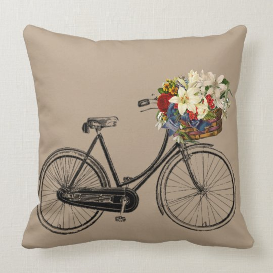 Light grey bicycle flower  taupe Throw pillow big