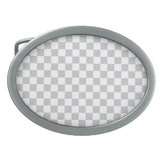 Light Grey Checkerboard Belt Buckle