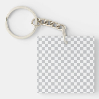 Light Grey Checkerboard Double-Sided Square Acrylic Key Ring