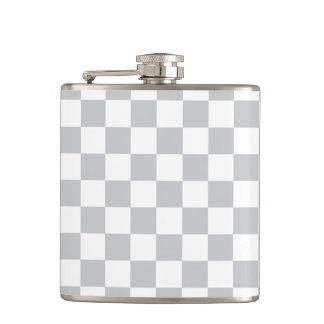 Light Grey Checkerboard Hip Flask