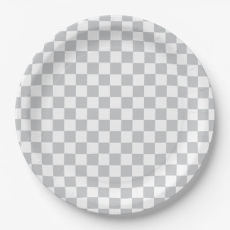 Light Grey Checkerboard Paper Plate