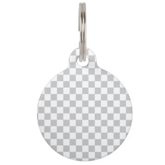 Light Grey Checkerboard Pet Name Tag