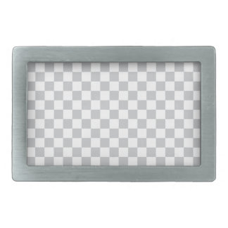 Light Grey Checkerboard Rectangular Belt Buckle