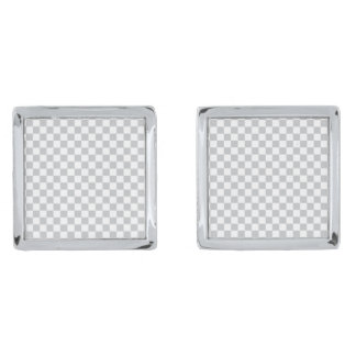 Light Grey Checkerboard Silver Finish Cufflinks