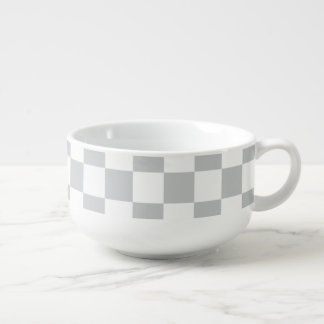 Light Grey Checkerboard Soup Mug