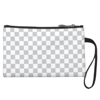 Light Grey Checkerboard Suede Wristlet