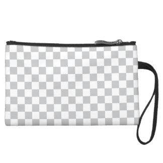 Light Grey Checkerboard Wristlet Purses