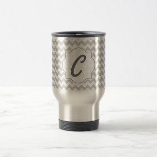 Light Grey Chevron - Custom Text Travel Mug