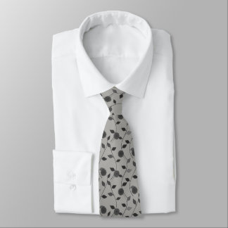 Light Grey Floral Pattern Gardener Florist Tie
